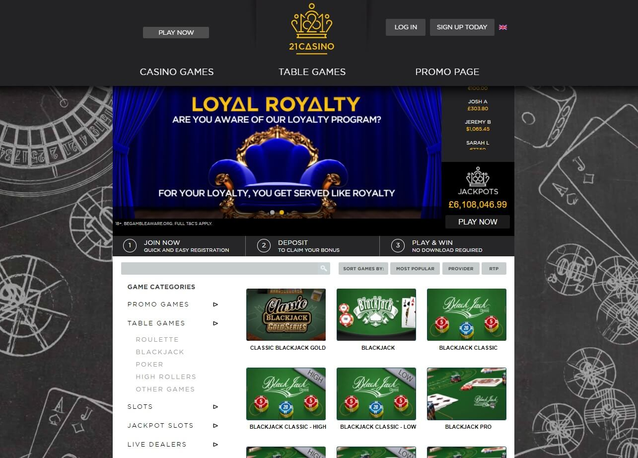 21 casino games