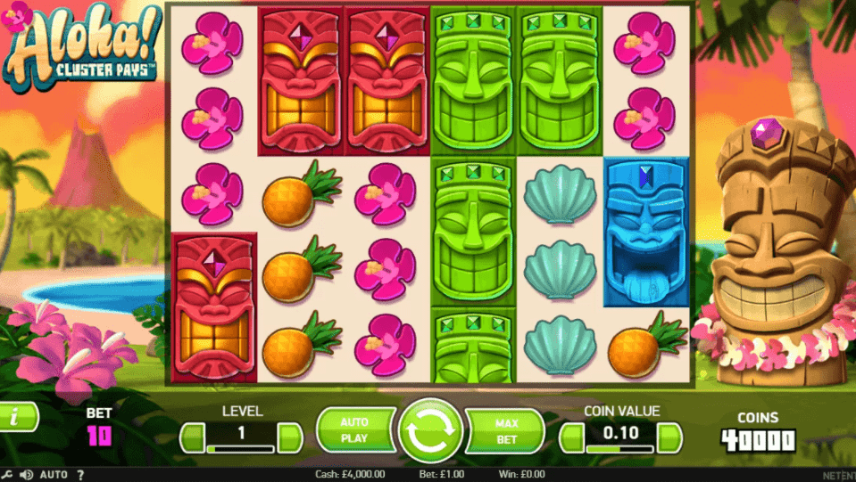 Aloha! Cluster Pays Slot Machine - How to Play