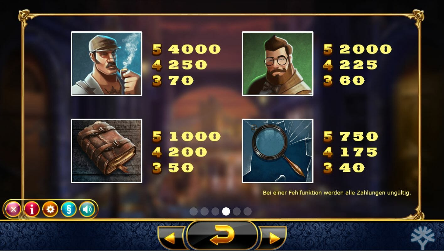 Holmes & the Stolen Stones Slot Game Symbols and Winning Combinations