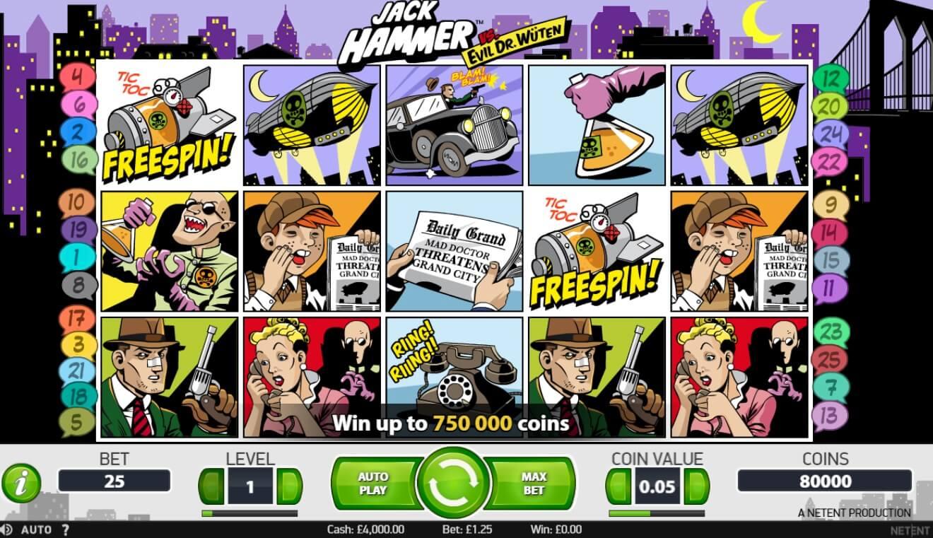 Jack Hammer Slot Machine - How to Play
