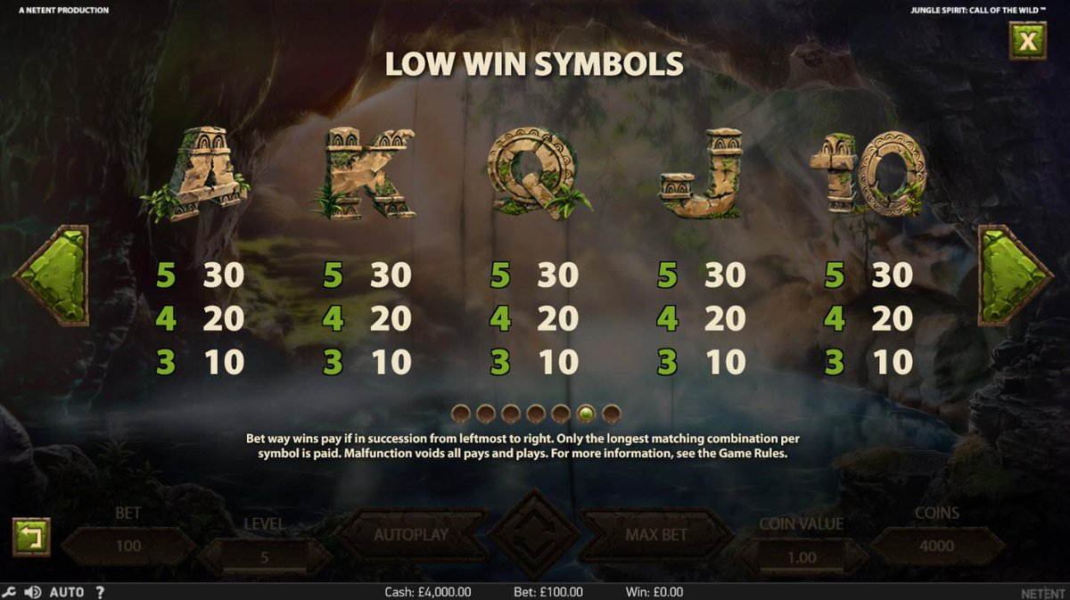 Jungle Spirit Call of the Wild Slot Game Symbols and Winning Combinations