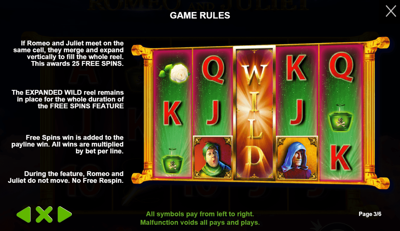 Romeo and Juliet Slot Machine - How to Play